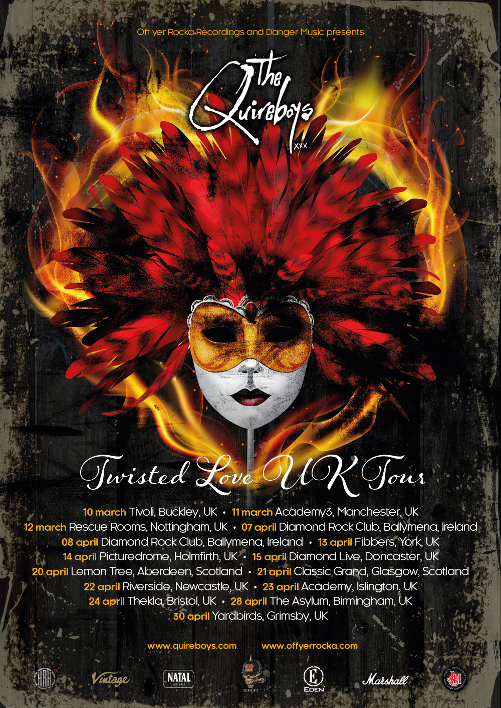 Quireboys March 2017 Tour Poster