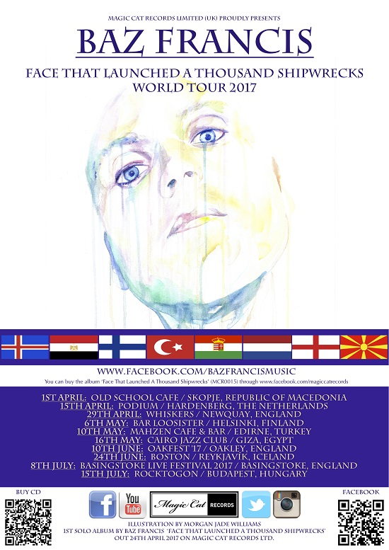 Baz Francis World Tour 2017 confirmed dates poster